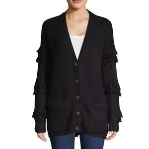 NWT SAKS Fringed-Sleeve Textured Cardigan,Black,XS